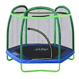 "Clevr 7ft Kids Trampoline with Safety Enclosure Net & Spring Pad, 7-Foot Outdoor Round Bounce Jumper 84"" Indoor/Outdoor, Built-in Zipper Heavy Duty Frame, Green and Blue 