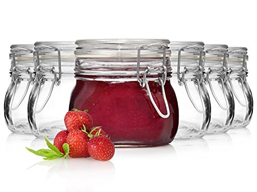 Bormioli Fido Gläser mit Bügelverschluss 6 teilig | Füllmenge 500 ml | Luftdichte Konservierung durch den Gummiring sowie den Drahtbügelverschluss
