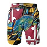 Jreergy Mens Swim Trunks Maryland Flag with Blue Crab Quick Dry...