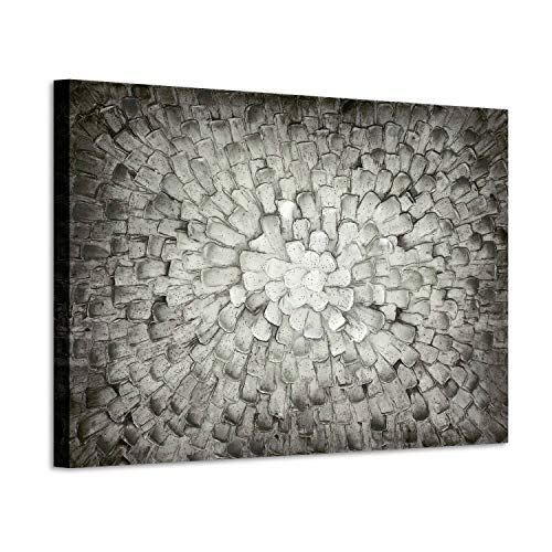 Gray Abstract Canvas Wall Art: 3D Black & White Squares Textured Painting Modern Picture Artwork for Office (36'W x 24'H,Multi-Sized)