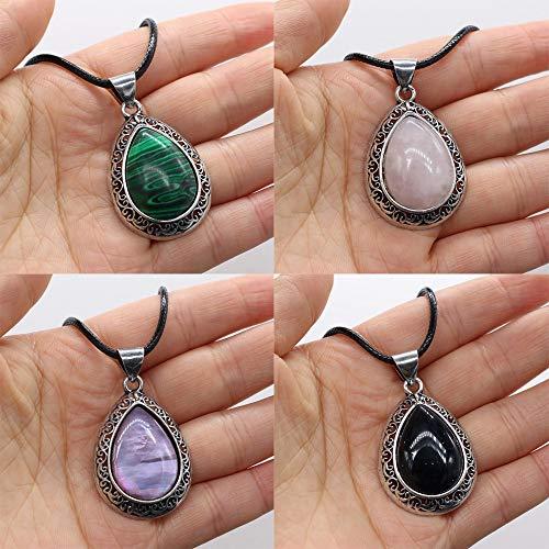 JIANGLAI Collar De Piedra Natural Collar De Ópalo De Cristal De Agua Collar De Colgantes De Moda Regalo De Curación De Reiki