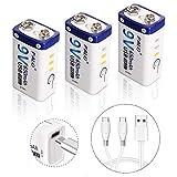 XINGWEI Batería Recargable de Litio de 9 V y 650mAh, 1,5 Horas de Carga Rápida por Micro USB, Baja Autodescarga para Alarma de Humo, Micrófono, Reclado y Más (Paquete de 3)
