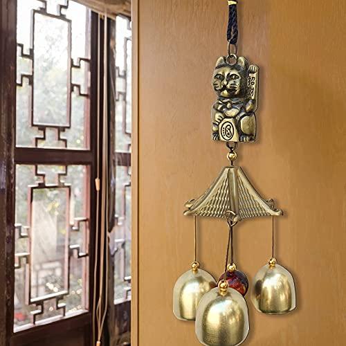 Bysonice - Giacca a vento tradizionale Feng Shui, decorazione decorativa a forma di gatto fortuna, in metallo, antiruggine, da appendere, per la casa, la camera da letto, il soggiorno
