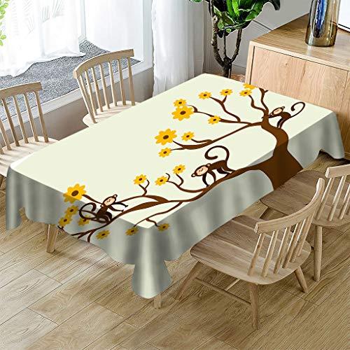 JHSH Nappe Polyester Rectangulaire Arbre Singe Motif Maison Table Basse Décoration Nappe140X240Cm