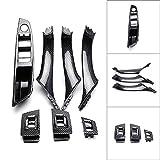 GZYF Car Auto 7 Pcs Interior Door Handles, Window Switch Panel, Armrest Panel Trim Cover Set Compatible with BMW 5 Series F10 F11 2010-2016