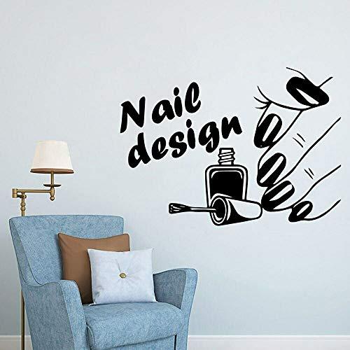 Calcomanía de pared de salón de uñas de arte, esmalte de uñas, tienda de uñas, decoración de puerta de vidrio, pegatina de pared, vinilo extraíble, póster de decoración de salón de uñas 59x42cm