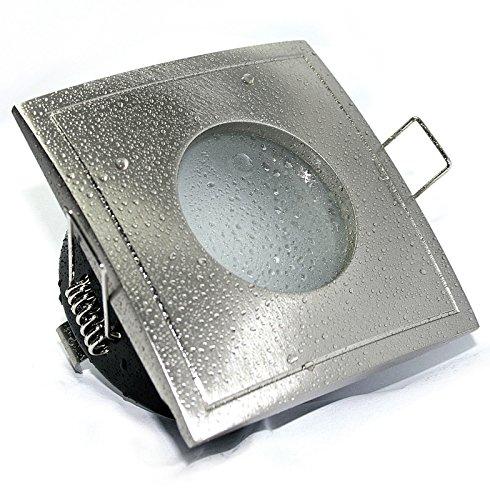 Aqua Square LED Feuchtraum IP65, NIEDERVOLT 12Volt MR16 Gu10, mit Power LED 5 Watt warmweiss Leuchtmittel inklusive, EINBAUTIEFE NUR 5,5 cm!! Bad Badezimmerstrahler, OUT65 OUT, eckig, quadratisch, Aussenbereich