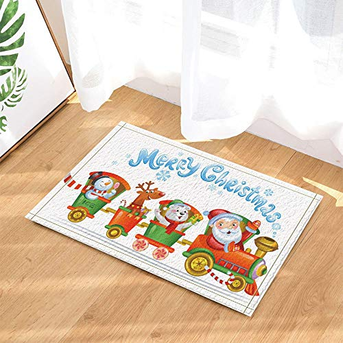 /N Alfombras Navidad Santa Muñeco Nieve Reno Oso Blanco en el Tren Antideslizante Piso Felpudo Entradas en el Piso Puerta Interior Alfombra 60X40CM