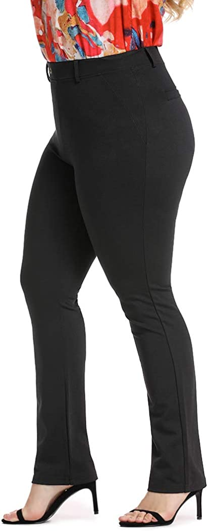 Wrinkle-Free Stretch Dress Pants Plus Size for Women Pull-on Pant Ease into Comfort Office Pant