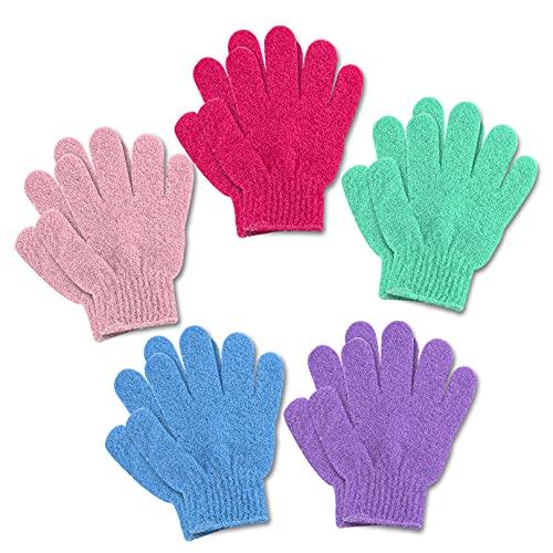 QUACOWW Lot de 5 gants exfoliants, gants de lavage, gants de bain, gants de massage, exfoliant, pour exfolier la douche, le corps, le spa, les peaux mortes.