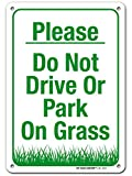 """Please No Parking On Grass Sign, 7"""" x 10"""" Industrial Grade Aluminum, Easy Mounting, Rust-Free/Fade Resistance, Indoor/Outdoor, USA Made by MY SIGN CENTER"""