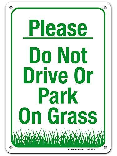 Veuillez NE pas lecteur ou Parc sur l'herbe des Signes – 25,4 x 17,8 cm – .040 antirouille en aluminium robuste – Made in USA – Protection UV et résistant aux intempéries – A81–492 AL