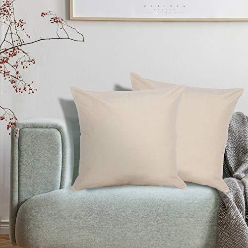 Viste tu hogar Pack 2 Fundas de Cojin sin Volante 60x60 cm, Algodón y Poliéster, para Decoración de Hogar en Color Beige Oscuro Liso.