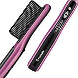 Fast Heating Hair Straightener Brush - Anti Scald Ceramic Straightener Brush, Anti Scald Ceramic Straightening Brush with 6 Temp Settings 20 Minute Auto-Off Straightening Comb for Home, Travel & Salon
