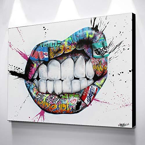 zhuziji DIY Malen nach Zahlen Wohnkultur Bild Leinwand Malerei weiße Zähne Wandkunst Leinwand50x70cm(Kein Rahmen)
