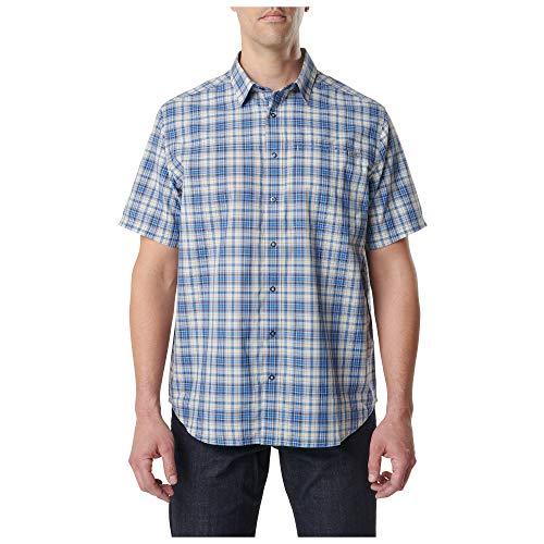 5.11 Tactical Men's Poly-Cotton Hunter Plaid Short Sleeve Shirt, Baltic Blue Plaid, Medium, Style 71374