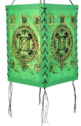 Guru-Shop Lokta Papier Hänge-Lampenschirm, Deckenleuchte aus Handgeschöpftem Papier - Buddha Mandala Grün, Lokta-Papier, 28x18x18 cm, Papierlampenschirme Quadratisch