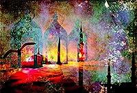 新しいイスラム教徒のラマダンの背景7x5ft Eidランタンとモスクシルエット写真の背景イスラム教の休日イスラム教徒の宗教アッラーはアラブイードの写真を祈る子供大人の肖像画Photoboothデジタル壁紙