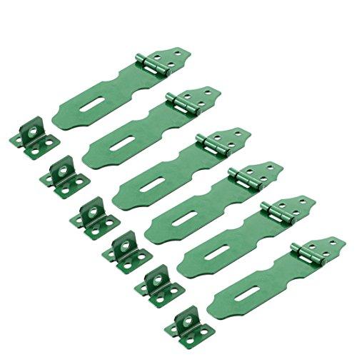 IIVVERR Green Metal Cabinet Cupboard Gates Padlock Latch Door Hasp Staple 6 Sets (Puertas de armario de gabinete de metal verde Latch Door Hasp Staple 6 Sets