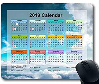 2019 Calendar with Important Holiday Pads,Mouse pad,Sky News Gaming Mouse pad