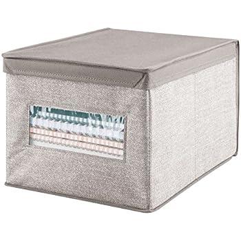 mDesign – Caja de tela con tapa para ordenar armarios – Ideal como organizador de oficina o caja de almacenaje – Versátil caja organizadora – Consigue orden y espacio adicional – Color: beige: Amazon.es: Hogar