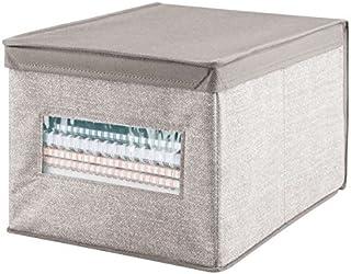 mDesign panier de rangement en tissu avec couvercle – parfait comme organiseur de bureau – la boîte de stockage idéale, cr...