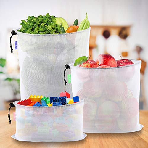 Reusable Mesh Produce Bags, Set of 12, SiFREE ECO-Friendly Washable Bags with Tare Weight on Tags | Lightweight, See-Through, Large, Medium & Small for Fruit Toy Vegetable Grocery Shopping Storage