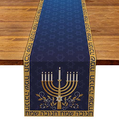 Rainlemon Linen Hanukkah Table Runner Jewish Chanukah Menorah Festival Kitchen Dining Room Table Decoration