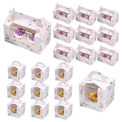 Saijer Cupcake-Boxen mit Griff,10 Stück Cake Boxes Einzel 10 Stück 2 Löcher Kuchenbox Cupcake Muffin Box mit klarem Fenster Für Kuchen Candy Treat Holiday Party Geburtstag Hochzeitsdekoration
