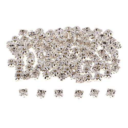 Kristall Strasssteine zum Aufnähen Flatback 6 mm für Handwerk Kleidung Schuhe Taschen DIY, 100stk - Silber