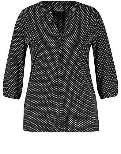 Samoon Damen 3/4 Arm Shirt Mit Tupfen-minimal Leger, Leicht Ausgestellt Black Gemustert 46