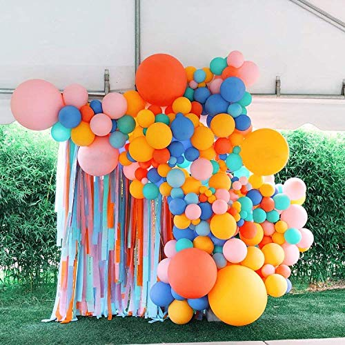 Lemon Yellow Balloon Arch Garland Kit Multicolor-Lemon Yellow Balloon Orange Balloon Pink Balloon Blue Balloon 136Pcs for Baby Birthday,Gender Reveal,Baby Shower,Wedding,Engagement,Christmas and Welcome Party Decoration.