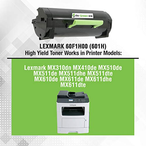 Be Green Ink Lexmark 60F1H00 601H Compatible Toner Cartridge for MX310dn MX611de MX511de MX410de MX611dhe MX610de MX511dhe MX510de MX511dte MX611dte MX611dfe (High Yield 10,000 Pages) Photo #2