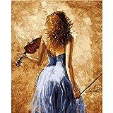 FDDPT DIY Leinwand Ölgemälde Kit Erwachsene Frau spielt Geige Malen nach Zahlen für Kinder Anfänger 40x50cm