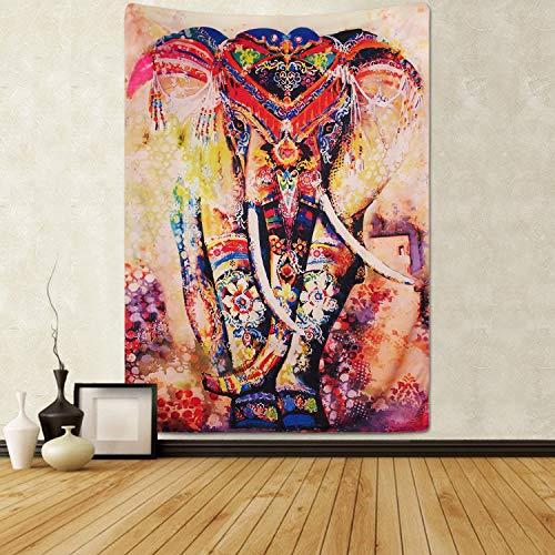 Tapiz psicodélico con diseño de elefante y flores, estilo hippie mandala, bohemio, tradicional, para colgar en la pared, para mesa, sofá, picnic, playa, 180 x 235 cm