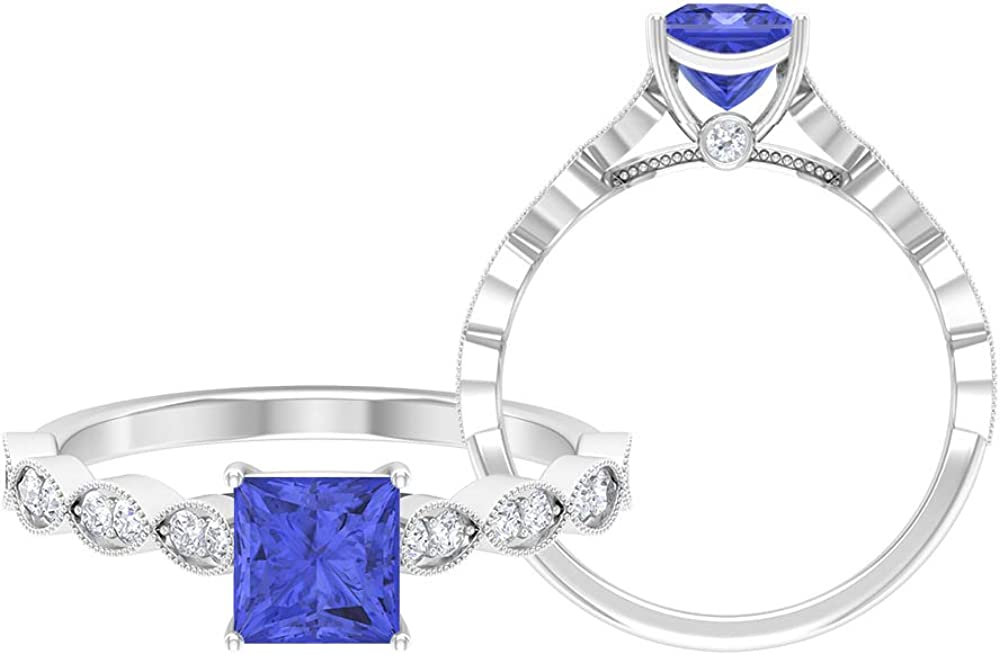 Princess Cut Solitaire Ring Side Stone Wedding Courier shipping free shipping Milgrain R Popular products