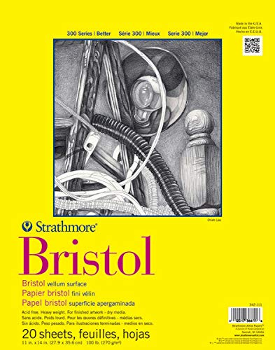 Pro-Art Strathmore Bristol-Bloc de Papel de Vellum (28 x 14 Pulgadas), 20 Hojas, Blanco, 11x14 in