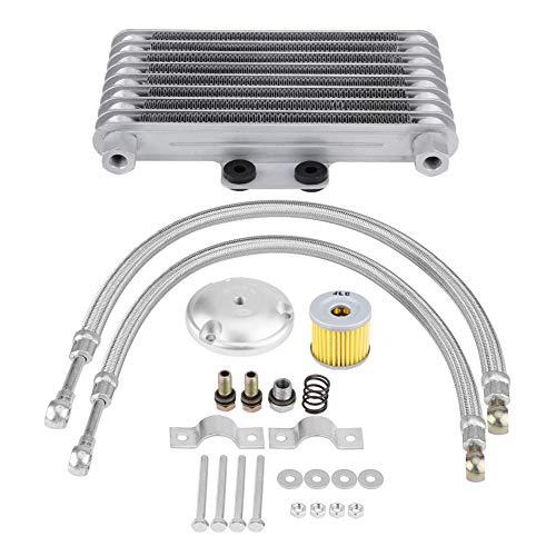 Kit de Refroidisseur d'Huile de Moto 125ml, Keenso Kit de Système de Radiateur de Refroidisseur d'Huile Moteur pour 125CC 150CC 200CC