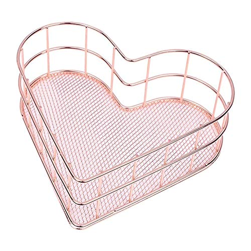 YDong Metal Wire Mesh Organizer Storage, Heart Shaped Mesh Basket, Earrings Trinket Storage, Fruit Snacks Tray (Rose Gold)