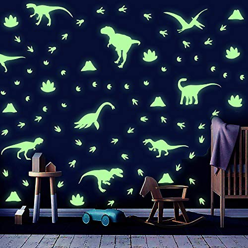 Dinosaurier Wandsticker Kinder,Wandtattoo Kinderzimmer,Tier Leuchtend Wandaufkleber,Dino Leuchtsticker für Junge Schlafzimmer Geschenke,Dino Aufkleber für Klassenzimmer Babyzimmer Spielzimmer Wanddeko