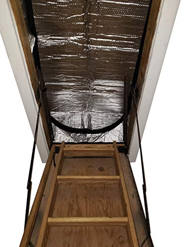 """Attic Stairs Insulation Cover for Pull Down Stair 25"""" x 54"""" x 11""""- R-Value 15.4 Extra Thick Fire Proof Attic Cover Stairway Insulator with Easy Installation, Low-dip Entrance and Tear by Miloo"""