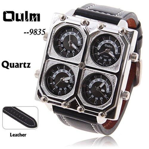 『Oulm Ori-0652 4 動き黒 25 mm 本革バンド男性用軍事アナログクォーツ腕時計』の2枚目の画像