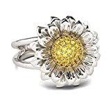 Jeulia s925 Sterling Silver Sunflower Rings Intertwined Ring Daisy Hawaiian Flower Rings for Women Halo Engagement Ring Set Bridal Anniversary with Jewelry Gift Box (8.5)