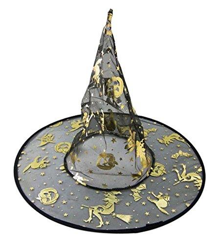5 Stück Halloween und Weihnachten einschichtiges Hexen Hut, 33 * 39 cm / Goldene