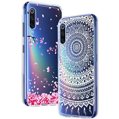 Yoowei Funda para Xiaomi Mi9 SE [2-Pack], Transparente con Dibujos Ultra Fino Suave TPU Gel Silicona Protector Carcasa para Xiaomi Mi 9 SE (Pandas y Flamencos Roja)