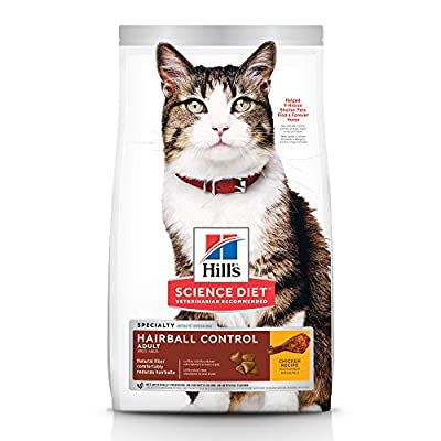 Hill's Science Diet Dry Cat Food, Adult, Hairball Control, Chicken Recipe, 7 lb Bag