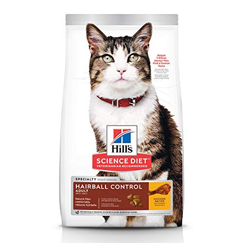 Hill's Science Diet Dry Cat Food, Adult, Hairball Control, Chicken Recipe, 15.5 lb Bag