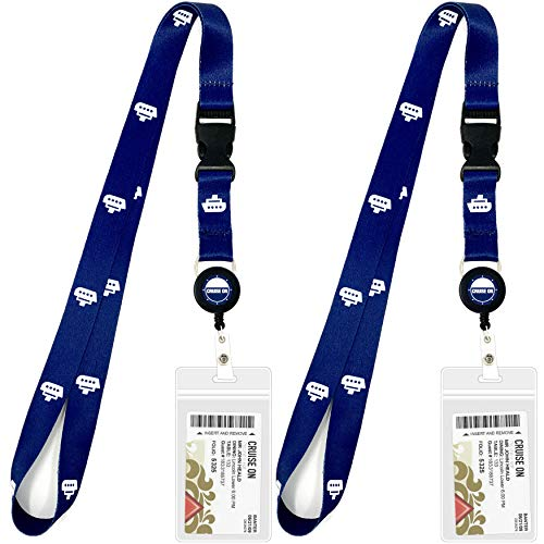 Cruise Lanyard for Ship Cards | 2 Pack Cruise Lanyards with ID Holder, Key Card Retractable Badge & Waterproof Ship Card Holders