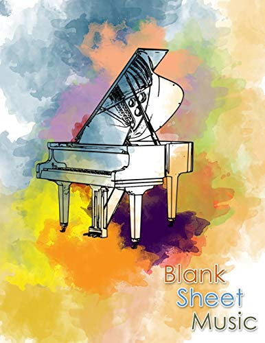 Blank Sheet Music: Songwriting Journal - Sheet Music Composition Notebook Combined with Lined Pages for Song Lyrics - Additional Pages for Notes - 8.5 x 11' -  130 pages - Watercolor Piano