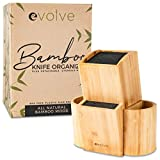"Evolve Bamboo Knife Block - Universal Kitchen Knife Holder - Safe & Space Saver Knife Storage that Covers Knife Blades Up To 10"" & Holds Up To 20 Knives with Machine Washable & BPA Free Flex Rods"